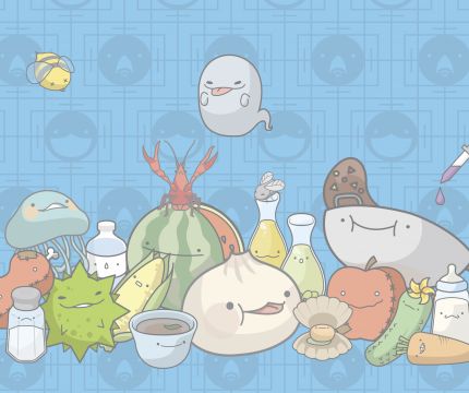 Image of all the food platform mascots, themed after various foods popular in China